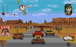In game image of Moonshine Racers on the Atari ST.