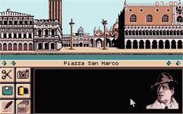 In game image of Murders in Venice on the Atari ST.