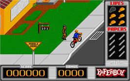 In game image of Paperboy on the Atari ST.