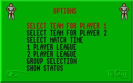 In game image of Peter Beardsley's International Football on the Atari ST.