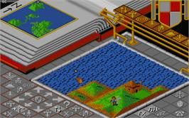 In game image of Populous on the Atari ST.