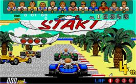 In game image of Power Drift on the Atari ST.