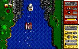 In game image of Pro Powerboat Simulator on the Atari ST.