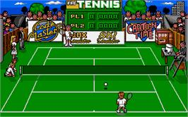 In game image of Pro Tennis Simulator on the Atari ST.