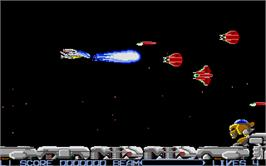 In game image of R-Type on the Atari ST.