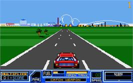 In game image of Road Blasters on the Atari ST.