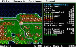 In game image of Roadwar Europa on the Atari ST.
