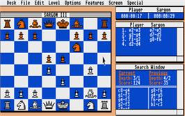 In game image of Sargon 3 on the Atari ST.
