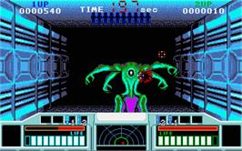 In game image of Space Gun on the Atari ST.