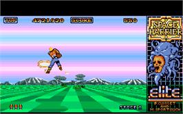 In game image of Space Harrier on the Atari ST.