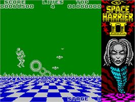 In game image of Space Harrier II on the Atari ST.