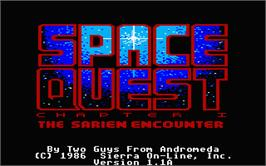 In game image of Space Quest I: Roger Wilco in the Sarien Encounter on the Atari ST.