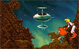 In game image of Space Rogue on the Atari ST.