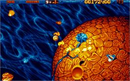 In game image of Star Dust on the Atari ST.