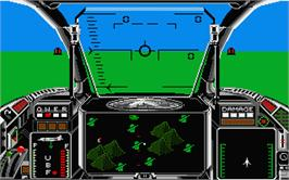 In game image of Strike Force Harrier on the Atari ST.