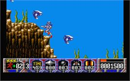 In game image of Turrican on the Atari ST.