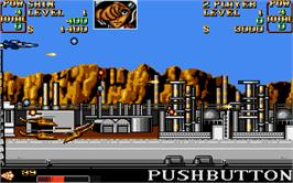 In game image of U.N. Squadron on the Atari ST.