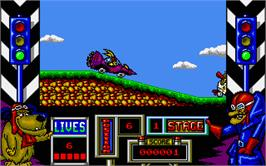 In game image of Wacky Races on the Atari ST.