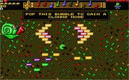 In game image of Wizkid: The Story of Wizball 2 on the Atari ST.