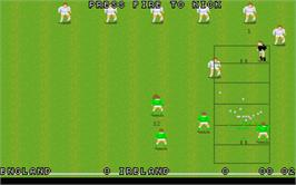 In game image of World Class Rugby on the Atari ST.