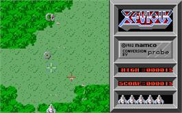 In game image of Xevious on the Atari ST.