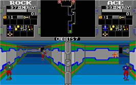 In game image of Xybots on the Atari ST.