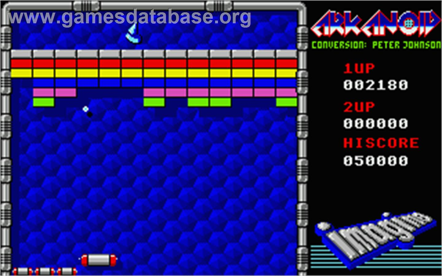 In game image of Arkanoid on the Atari ST.