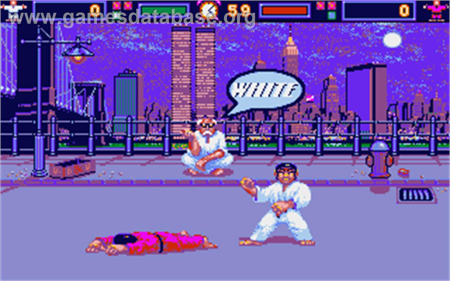 In game image of International Karate on the Atari ST.