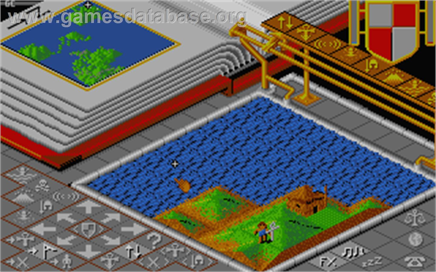 In game image of Populous: The Promised Lands on the Atari ST.