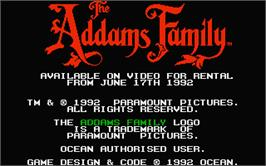 Title screen of Addams Family, The on the Atari ST.