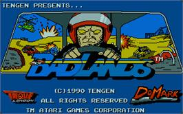 Title screen of Bad Lands on the Atari ST.