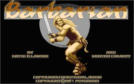 Title screen of Barbarian on the Atari ST.