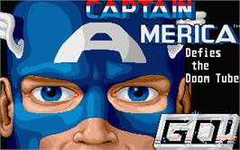 Title screen of Captain America Defies the Doom Tube on the Atari ST.
