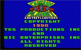 Title screen of Captain Planet and the Planeteers on the Atari ST.