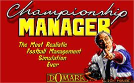 Title screen of Championship Manager on the Atari ST.