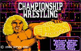 Title screen of Championship Wrestling on the Atari ST.