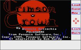 Title screen of Crimson Crown on the Atari ST.