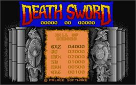 Title screen of Death Sword on the Atari ST.