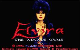 Title screen of Elvira: The Arcade Game on the Atari ST.
