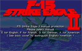 Title screen of F-15 Strike Eagle 2 on the Atari ST.