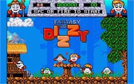Title screen of Fantasy World Dizzy on the Atari ST.