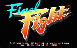 Title screen of Final Fight on the Atari ST.