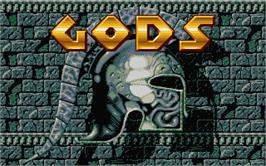 Title screen of Gods on the Atari ST.