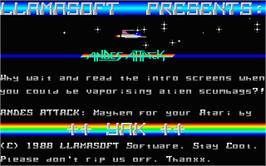 Title screen of Hellfire Attack on the Atari ST.