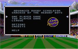 Title screen of International Rugby Simulator on the Atari ST.