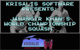 Title screen of Jahangir Khan's World Championship Squash on the Atari ST.
