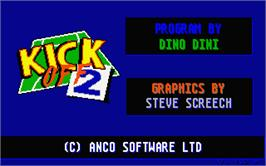 Title screen of Kick Off 2: The Final Whistle on the Atari ST.