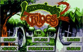 Title screen of Lemmings 2: The Tribes on the Atari ST.