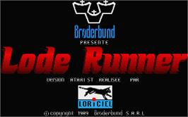 Title screen of Lode Runner on the Atari ST.