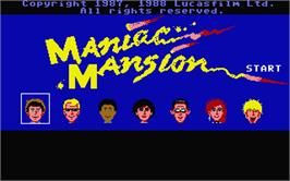 Title screen of Maniac Mansion on the Atari ST.
